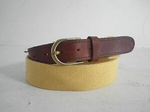 HARNESS-HOUSE-Saffron-Yellow-Surcingle-Webbing-Leather-Unisex-Belt-Sz-34-NEW