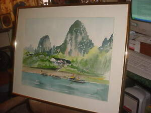 YEAR END SALE LARGE M. LORD FRAMED LARGE  WATERCOLOR SEASCAPE