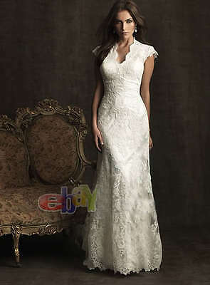 Charming bridal wedding dress gown  custom V-neck lace size  free