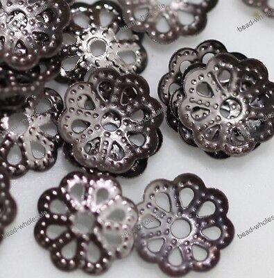 500pcs Silver/Golden/Bronze/Copper Metal Flower Shaped Bead Caps Finding 6mm