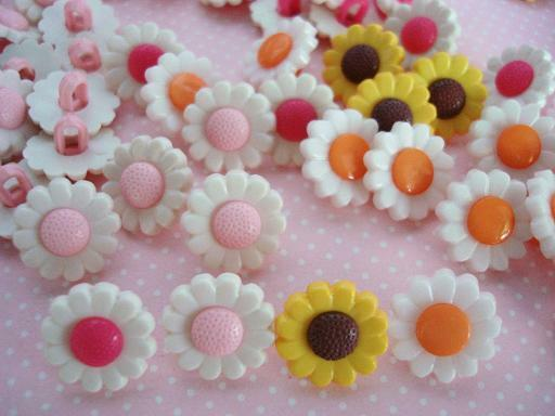 40 Cute Daisy Flower Kids Sewing Button Shank/Plastic/Craft/Trim/Girl Sb70-Mix