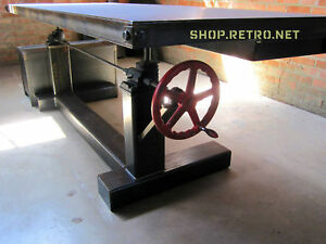 ... French Industrial Adjustable Height Desk Crank Table VTG