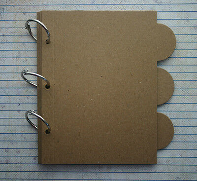 "6 Page Bare Chipboard Album 5 1/4"" wide x 6"" tall with rounded tabs & bookrings"