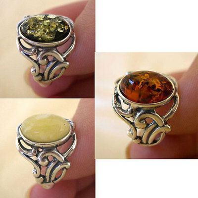 BALTIC BUTTERSCOTCH GREEN or HONEY AMBER & STERLING SILVER HANDMADE RING
