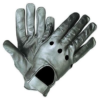 SOFT BLACK LEATHER FULL FINGER UNLINED MOTORCYCLE RIDING DRIVING GLOVES UNIK