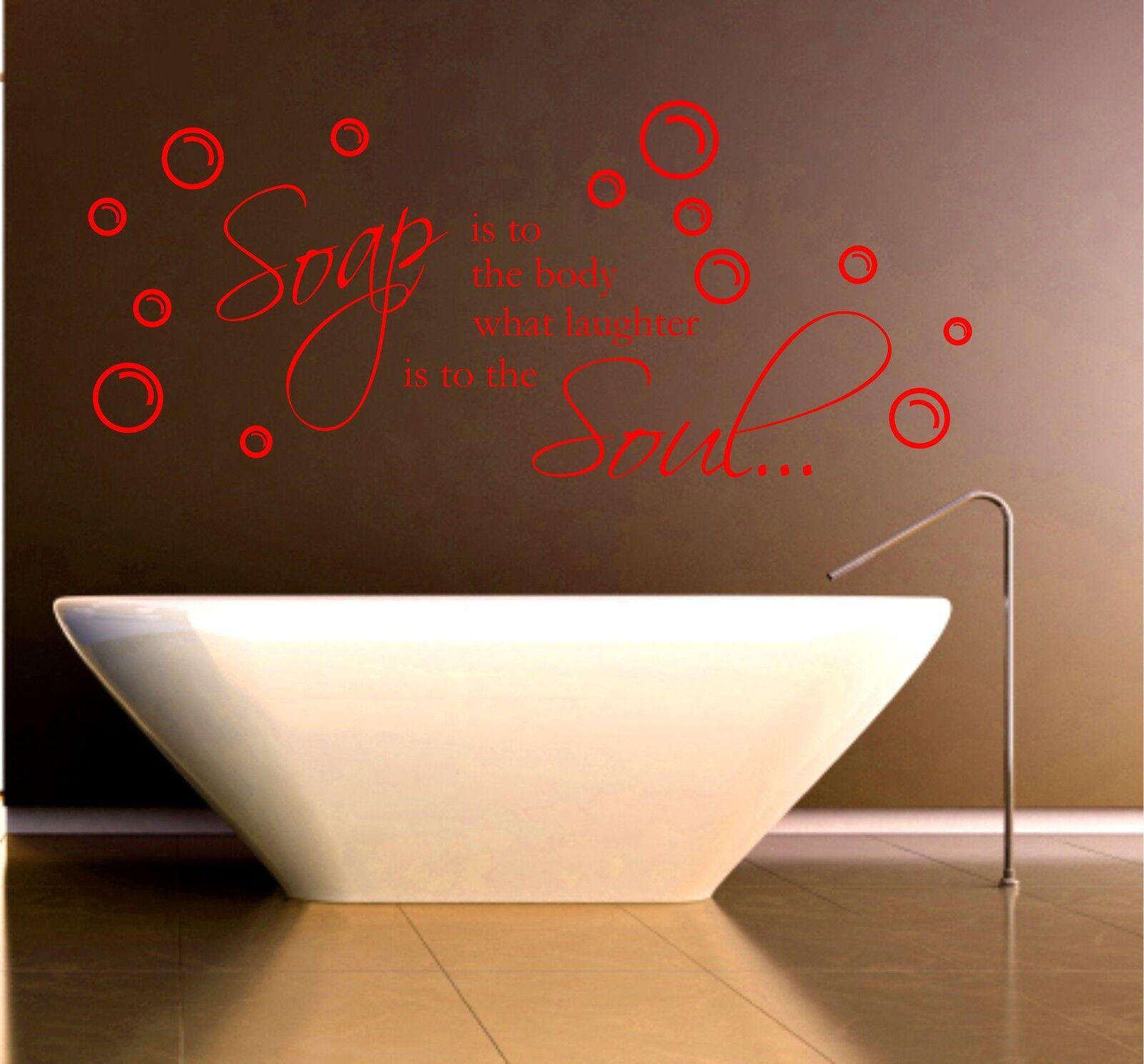 Savon rires et salle de de de bain citation vinyle mur art autocollant 051db3