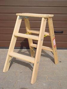 doppelstufenleiter tritt stufenleiter holz leiter holzleiter 2x 3 stufen ebay. Black Bedroom Furniture Sets. Home Design Ideas