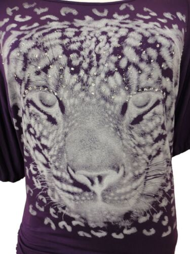 LADIES PLUS SIZE SEQUIN TIGER PRINT BAGGY BATWING TOPS TUNIC SLOUCH DRESS 12-30