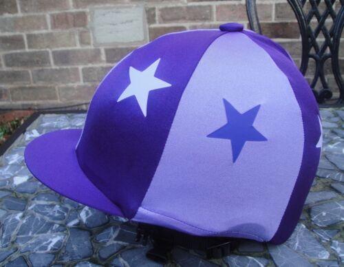 Stars avec ou sans pompon Équitation Chapeau soie tête Cap couverture Violet /& Lilas
