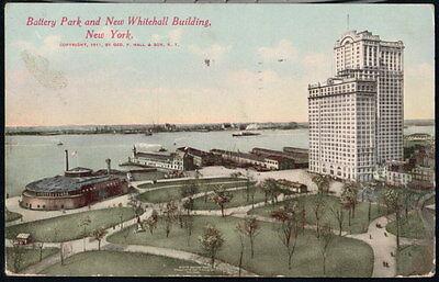NYC NY Battery Park Aquarium 'New' Whitehall Building Antique City Postcard Vtg