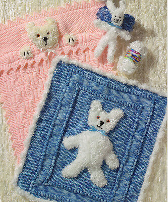 "2 Baby Pram Blankets with Teddy Motif & Toy Rabbit  Knitting Pattern 20"" X 22"""
