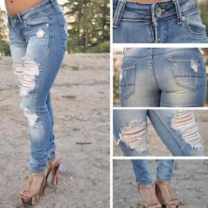 SKINNY-Machine-Jeans-SZ-0-13-LIGHT-BLUE-ripped-FAST-FREE-SHIPPING-ST6438