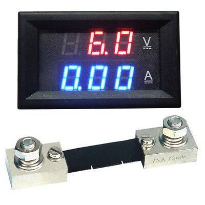Digital led Amp Volt Meter 0-100A 4.5-30V Voltage + 100A/75mV Shunt F/ 12v car B