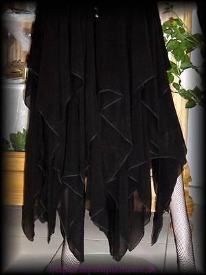 Gothic Wicca Zipfelrock schwarz oder weiß Hexe Elfe Mittelalter Larp Neu