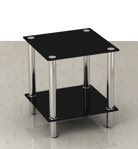 Black Glass & Stainless Steel Small Display Stand / Side, Coffee or Lamp Table