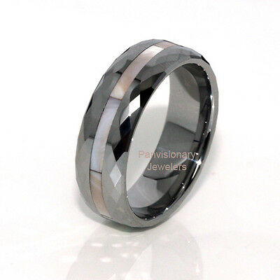 8MM Tungsten Carbide Ring Pink White M of Pearl Inlay Faceted Edges Size 6 - 12