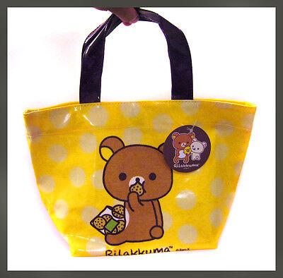 very cute relax bear rilakkuma eating cookie polka dot tote hand bag - small