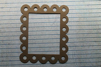 3 Bare chipboard Scalloped Eyelet Rectangle Frame Die cuts 3 3/4  w x 4 3/4