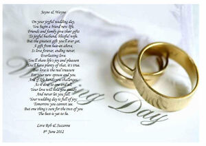 Personalised Wedding Poem A Gift For The Bride Amp Groom On Their Wedding Day