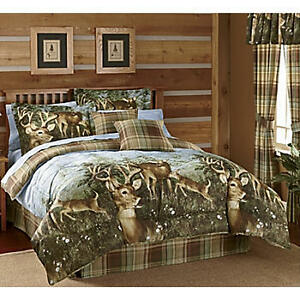 Whitetail deer buck cabin hunting lodge plaid earthtone for Hunting cabin bedroom