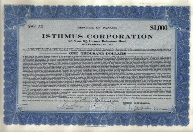 Panama 6% Gold Bond 1932 ISTHMUS Co $1000 Uncancelled