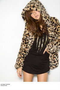 NEW-Women-Leopard-Print-Faux-Fur-Coat-Jacket-Outerwear-UK8-10