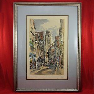 Vintage-PRINT-Hand-Tinted-Original-La-Rue-039-Dami-039-ette-France-1927-Framed-amp-Matted