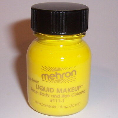 Yellow Body Hair Liquid Makeup Mehron Face Paint Color Costume Painting