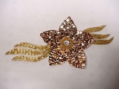 """K8511 ~  GOLD JEWEL FLOWER  SEQUIN BEADED APPLIQUE 7"""""""