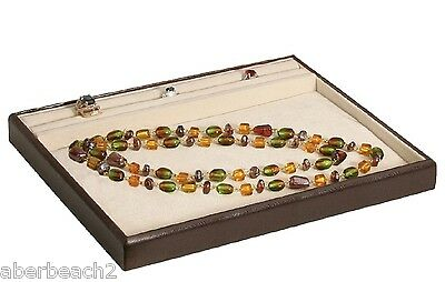 "Jewelry Display Showcase Ring Necklace Presentation Tray 1"" Leatherette"