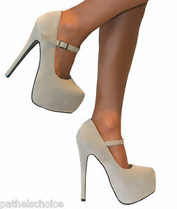 ladies nude suede mary jane strappy platform stiletto high heels court shoes 3 8 ebay. Black Bedroom Furniture Sets. Home Design Ideas