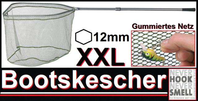 BALZER Never Hook Smell XXL gummierter Bootskescher Kescher Tele Alu 85cm 2,65m