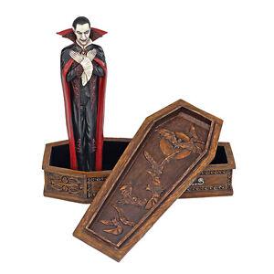 Count-Dracula-amp-Coffin-Sculpture-Vampire-of-Transylvania-Haunting-Halloween