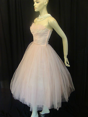 40s VINTAGE DRAMA QUEEN EMMA DOMB PINK TULLE SHELF BUST PARTY PROM DRESS XS-XXS