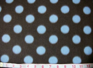 Fleece-fabric-by-the-yard-Brown-with-blue-polka-dot