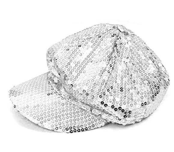 SILVER SEQUIN BALL CAP stage party dance costume hats women poor boy hat ladies