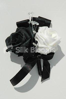 Stunning Black & White Double Rose Wedding Buttonhole