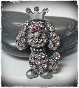 Neu Brosche Silber Hund Mit Swarovski Steine Light Rose/fuchsia/rosa/pink Nadel Kunden Zuerst