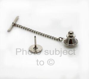 4-TIE-TACKS-w-Clutch-Chain-Findings-Blanks-TAC-PIN-Lapel-Silver-tone-DIY