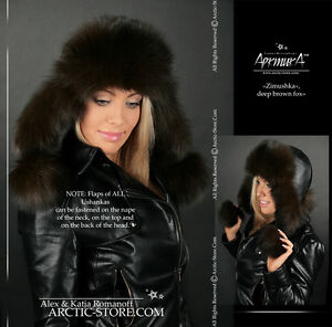 ARKTIKA-Ushanka-Women-039-s-Fur-Hat-Brown-Fox-Chapka-Shapka-Flaps-Poms