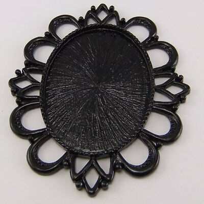 Vintage Style Black Tone Alloy Lace Cameo Setting 40*30mm Pendant 4pcs 03179