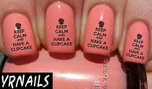 Nail-WRAPS-Nail-Art-Water-Transfers-Decals-Keep-Calm-amp-Have-a-Cupcake-S239