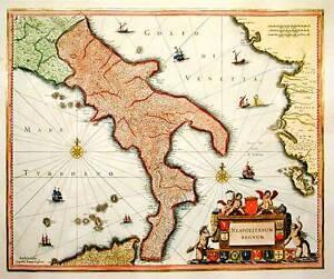 Cartina Del Belgio Da Stampare.Mappa Del Regno Di Napoli 1650 Stampa Incisa E Dipinta A Mano Ebay