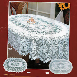 NEW-OVAL-WHITE-POLYESTER-LACE-TABLE-CLOTH-60x90-034-FLORAL