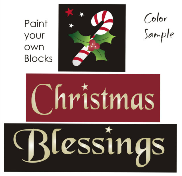 Joanie Stencil Christmas Blessings Candy Cane Holly Ribbon Country Prim Blocks