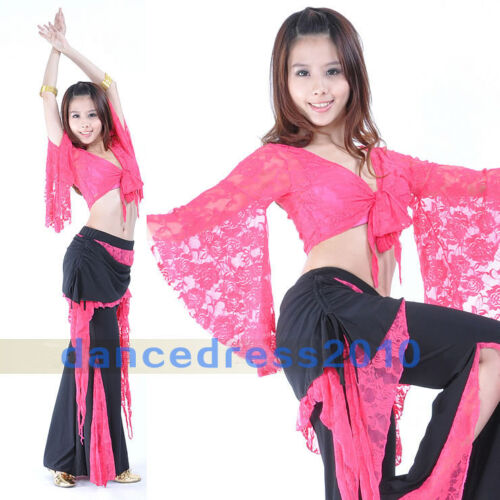 Adult Ladies Lace Belly Dance Top Long Sleeve Bolero Flared Blouse Tops 11Colors