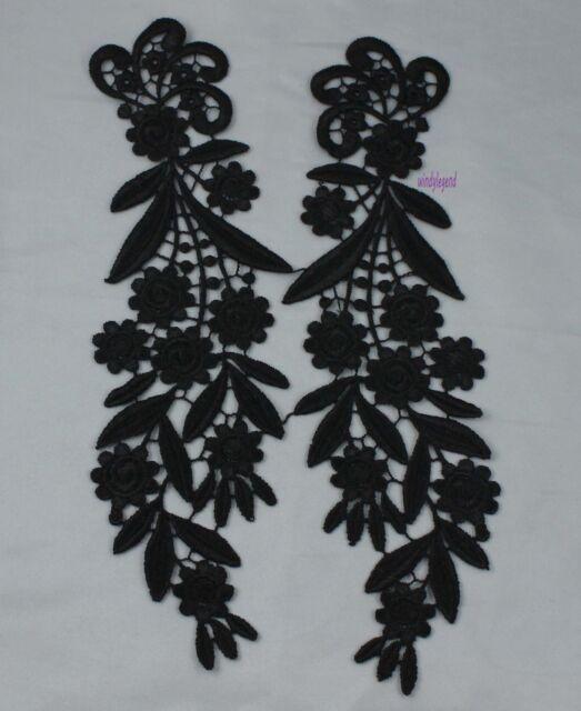 1 Pair Black Mirror Pair Motif Floral Venise Venice Lace Sewing Applique Craft
