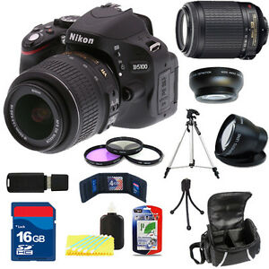 Nikon-D5100-Black-w-18-55mm-VR-Lens-amp-55-200mm-VR-Lens-16GB-4-Lens-Kit