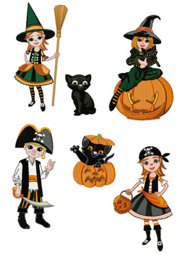 "ABC Designs Halloween Party Machine Embroidery Designs SET 5/""x7/"" hoop 6 Designs"