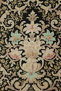 Antique-French-Art-Nouveau-Curtain-panel-drape-LARGE-black-ground-c-1890